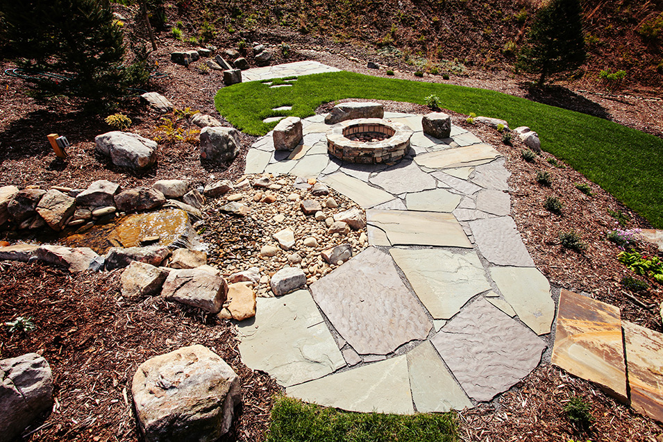 Running Water Feature with Fire Pit in Asheville